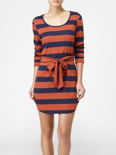 Rugby Stripe Dress by Quiksilver. Such a great dress with tights and boots!