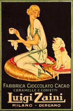 Primi del '900 Artusi definì la #cioccolata bevanda per convalescenti, ma poi arrivò la belle époque che la trasformò in #lusso goloso Advertising Slogans, Vintage Advertising Posters, Vintage Advertisements, Vintage Ads, Old Poster, Poster Vintage, Illustration Techniques, Dog Illustration, Images Vintage