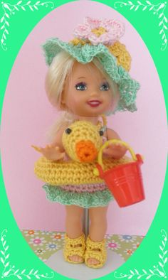 "Crochet Doll Clothes Duck Swimmer Outfit for 4 ½"" Kelly Same Sized Dolls"