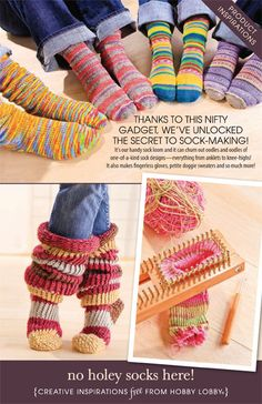 unlocked the secret to sock-making! It's our handy sock loom and it can churn out oodles and oodles of one-of-a-kind sock designs—everything from anklets to knee-highs! It also makes fingerless gloves, petite doggie sweaters and so much more! Knitting Loom Socks, Knifty Knitter, Loom Knitting Projects, Loom Knitting Patterns, Yarn Projects, Crochet Projects, Crochet Patterns, Diy Tricot Crochet, Loom Crochet