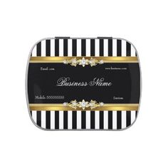 Business Giveaway Gold Black White Stripe Jelly Belly Candy Tin