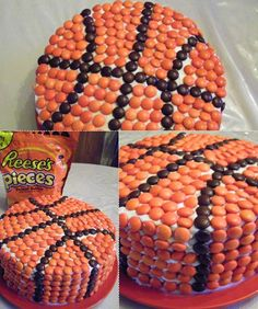 uhm boys birthday party?!?!?   Basketball Cake ~ White frosting, a big bag of Reese's Pieces and a nice round cake are all you need for this fun cake I want to run my fingers over it, being quite a tactile person.