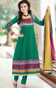 Picture of Fashionable Green Color Indian Wedding Churidar Kameez
