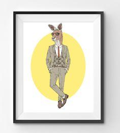 Male Kangaroo Animal Print Fashion Animal Kangaroo Digital