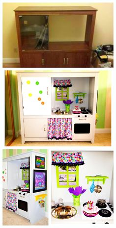 Play kitchen out of old TV stand!  My niece LOVED it!  It was a labor of love!