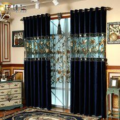 Decoration European Style Dark Blue Luxury Embroidery Custom Grommet Top Curtain - love your home - Curtain Elegant Curtains, Curtain Decor, Curtains Living Room, Stylish Curtains, Curtains, Luxury Curtains, Home Curtains, Curtain Designs, Curtains With Blinds