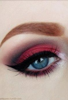 Dark red eye shadow