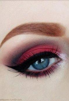 Dark red eye shadow
