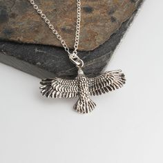 Eagle Necklace,Minimalist Jewelry,Sterling silver,Eagle necklace,Unisex Necklace,Sterling silver,Men woman Eagle Pendant,Gift by FashionArtJewelry on Etsy