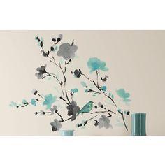 Pássaro da aguarela quarto Mates Deco Blossom Ramo Decalque