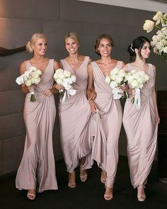 Stunners in our Bridgette dress in Rosy Latte | Also available in many more colours! Click link in bio #whiterunway #bridesmaids #HuffPostIDo