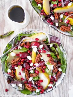A fresh and festive salad full of ruby red pomegranate seeds, juicy ripe pears, crunchy grapes, and lightly sweetened and spiced pecans.