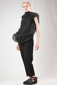 Rick Owens | hip length 'sculpture' waistcoat with bands of lined linen 'cocoon' sewn on the front | #rickowens