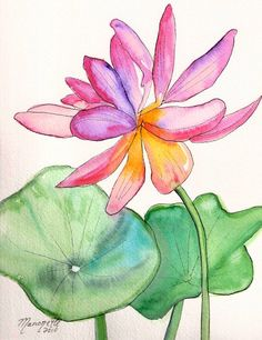 Sumi Style Lotus Flower Original Watercolor Painting from Kauai Hawaii. via Etsy.