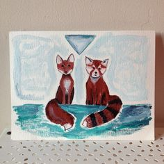 Buddies <3 fox and red panda little painting