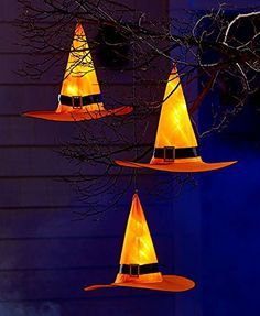 Pre Lit Witch Hat Set of 3 Halloween Lighted Decoration Light up the long autumn nights with this trio of lighted witches' hats! Perfect Halloween decoration for hanging outdoors in yo… Halloween Witch Hat, Halloween Porch, Halloween Home Decor, Outdoor Halloween, Holidays Halloween, Easy Halloween, Witch Hats, Halloween Stuff, Halloween Crafts