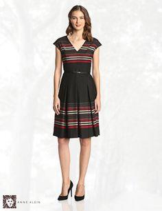 Anne Klein Women's V Neck Stripe Fit and Flare Dress