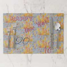 HAPPY NEW YEAR! PAPER PLACEMAT - New Year's Eve happy new year designs party celebration Saint Sylvester's Day