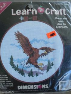 """LEARN A CRAFT THE EAGLE Counted Cross Stitch KIT 6"""" Round"""