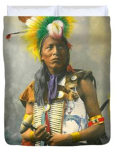 Kills On Horseback Duvet Cover featuring the painting Kills On Horseback-ogalala Sioux by Herman Heyn