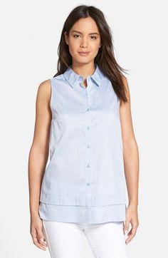 Women's Nordstrom Collection Sleeveless Cotton Poplin Shirt