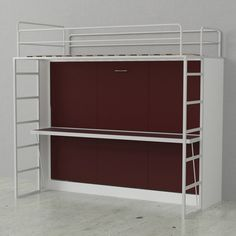 Dbl Bunk Wall Bed White Burnt Red Doors. Children of today are growing up in a world filled with wonderful innovation. Why should their bedroom be any different? The Abel bunk allows your child to do their homework at a full sized desk and sleep comfortably in the Twin size bed on top.