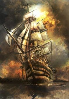 Ocean-going merchant ship – Famous Last Words Pirate Art, Pirate Ships, Pirate Life, Old Sailing Ships, Ghost Ship, Ship Paintings, Wooden Ship, Sail Away, Ship Art