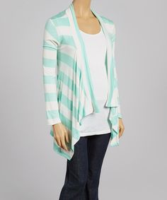 Look what I found on #zulily! Mint & White Wide Stripe Maternity Open Cardigan - Women by Can't Wait Maternity #zulilyfinds $24.99, regular 45.00