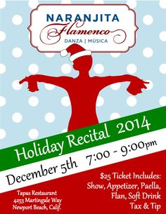 We're having a Holiday Recital - a student showcase - a spectacular spectacular - and we'd love for you to join us. You can buy your tickets on our website: www.NaranjitaFlamenco.com...do you love our polka dots that look like snow falling? Recital, Newport, That Look, Polka Dots, Join, Student, Snow, Website, Holiday
