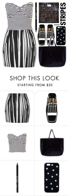 """b / w"" by foundlostme ❤ liked on Polyvore featuring Topshop, Sergio Rossi, Reebok, Urban Decay, STELLA McCARTNEY, L. Erickson, stripesonstripes and PatternChallenge"