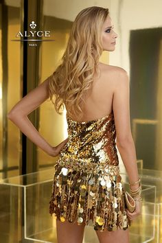 Claudine for ALYCE Paris | Prom Dress Style #2224 - Gold Dress Skirt Attached