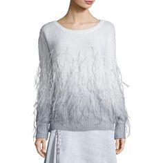Prabal Gurung Feather Degrade Off-the-Shoulder Sweater ($957) ❤ liked on Polyvore featuring tops, sweaters, off shoulder tops, extra long sleeve sweater, pullover top, feather sweater and prabal gurung