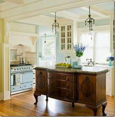DIY Vintage Dresser to Charming Cottage Styled Kitchen Island !