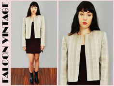 Vtg 80s NEUTRAL Stripe CROPPED Bolero Career Secretary Coat Blazer Jacket M