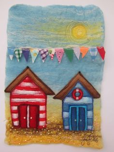 "Jo Felts ""Beach Huts - Come and see her wares at this year's Salisbury Christmas Market Jo will be in the ""Sandie Blue and Friends"" chalet. Seaside Art, Beach Art, Beach Huts Art, Fabric Cards, Fabric Postcards, Felt Pictures, Fabric Pictures, Wet Felting, Needle Felting"