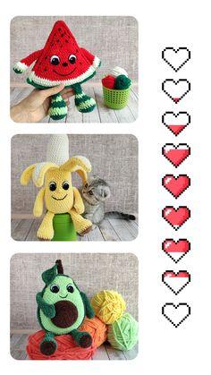 Crochet BANANA, AVOCADO & WATERMELON patterns, Amigurumi cute fruit with eyes and hands pattern, Crochet play food tutorial