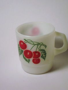 Vintage Termocrisa Milk Glass Coffee Mug Cup with Cherries Fruit goes with Fire King