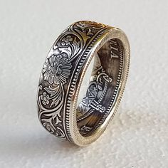 One Rupee coins from India handmade into beautiful rings We use circulated 917 silver coins but only use coins that have good detail This is the beautiful Queen Victoria. Coin Jewelry, Jewelry Rings, Jewelry Accessories, Jewelry Design, Jewelry Ideas, Glass Jewelry, Bridal Rings, Wedding Rings, Coin Ring