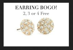 Earrings BOGO! Up to 4 free pieces Use code EARS2, EARS3, or EARS4 - What are you waiting for? You can pick up 2, 3 or 4 gorgeous earrings, and then 2, 3 or 4 more for free!