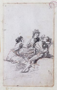 "Goya Drawing. Drawing ""A Group of Women around a Fainting Companion"""