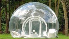 Just imagine spending the night under the stars then watching the sun rise with a 360 degree view? The BubbleTree inflatable transparent tent is an innovative idea that came from French designer Pierre Stephane Dumas. Chairs, bed and table inflate with tent. It is all the rage in France right now, renting at £ 400 a night. They sell a beach worthy model and one with opaque vinyl on the bottom half for privacy.