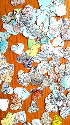 300 wereld Atlas Confetti Shapes - Bonvoyage papier Shapes - reizen Decor van de partij tabel van de Confetti - Atlas van de harten van het papier van thema bruiloft