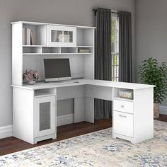 Bush Furniture Cabot L Shaped Computer Desk with Hutch, White L Desk, Computer Desk With Hutch, Ikea Desk, Desk Hutch, Computer Desks, Corner Desk With Hutch, Desk With Shelves, White Desk With Hutch, White Corner Desk