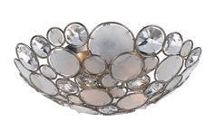 Crystorama 524-SA 2-Lights Ceiling Flush Mount That Can Be Used As A Wall Sconce As Well. Antique Silver Finish Pared With Clear Crystal And Capiz Shell Accents. - Antique Sliver