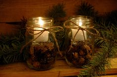 Rustic Pine Cone Candles for your cabin Decor. $16.00, via Etsy.