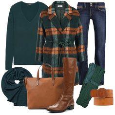 стильный модный женский лук: Пальто, Пуловер, Джинсы, Сапоги, Сумка, Перчатки, Шарф, Ремень
