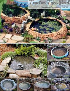 Tractor Tyre Pond - might work in  layers for water fall #reuse #recycle #repurpose #tyres #tire #diy #makeit #car #garden #plant #aboutthegarden #water #pond #fish #project
