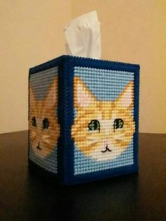 Yellow Tabby Tissue Box Cover