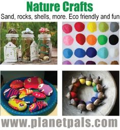 All Nature All The Time CRAFTS from natural Materials-sand rocks All Nature, Green Nature, Tree Crafts, Diy Crafts, Art For Kids, Crafts For Kids, Camping Crafts, Rock Crafts, Preschool Art