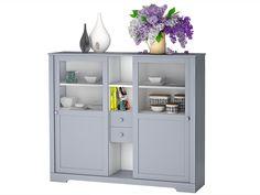 Highboard ROMA aus Kiefer massiv in grau weiß im modernen Landhausstil für Ihre Moderne Landhausküche - Loft24.de
